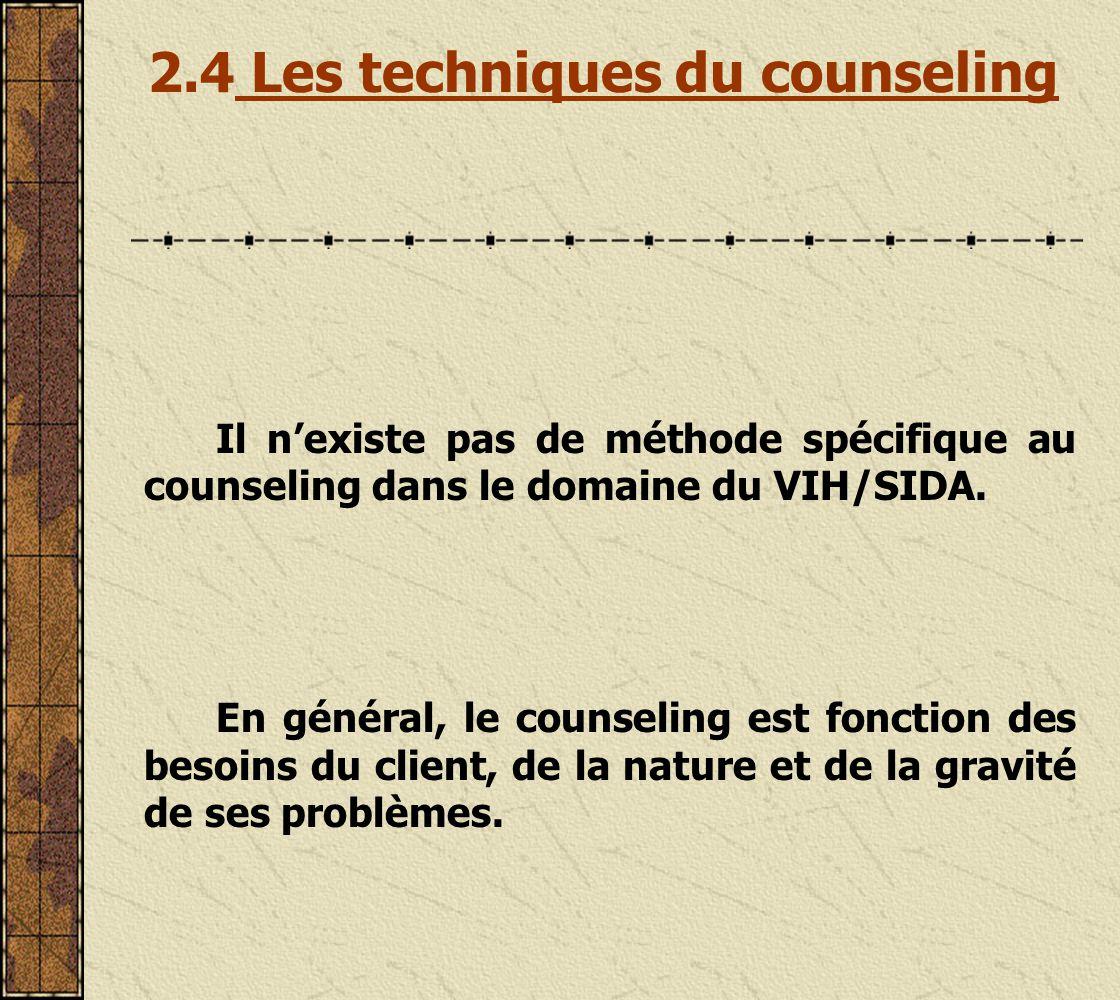 2.4 Les techniques du counseling