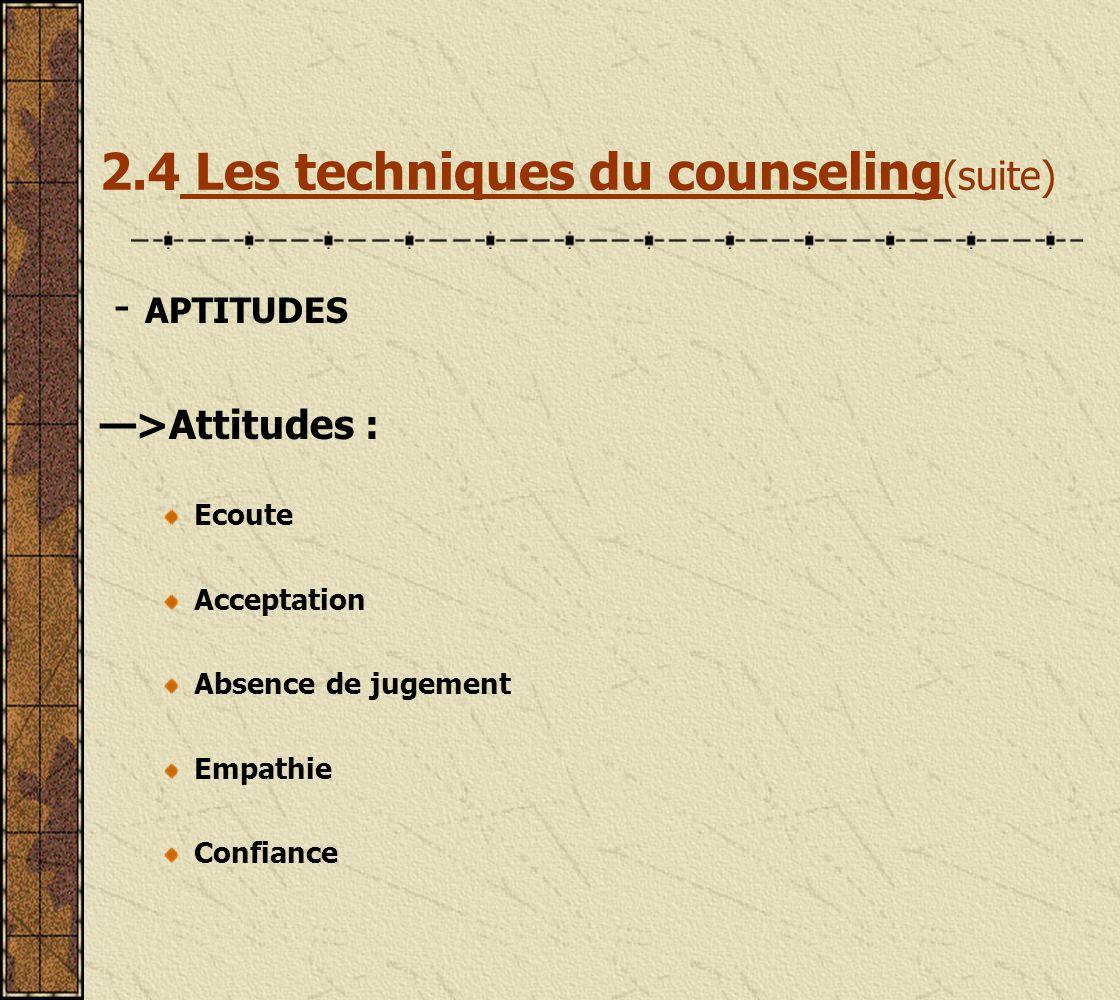 2.4 Les techniques du counseling(suite)