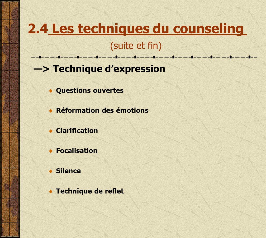 2.4 Les techniques du counseling (suite et fin)