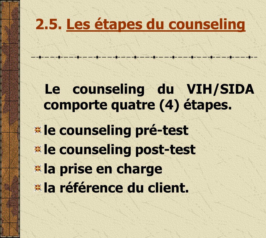 2.5. Les étapes du counseling