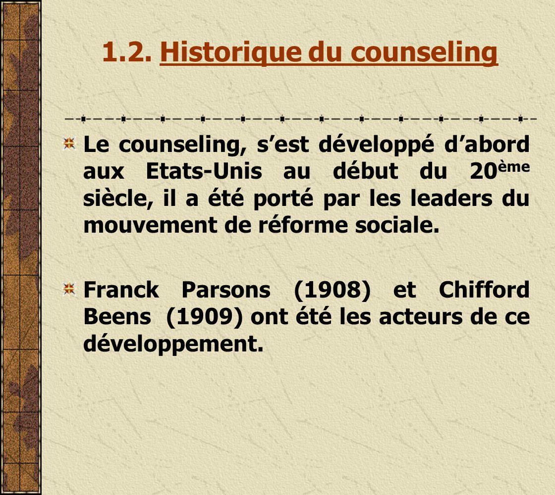 1.2. Historique du counseling