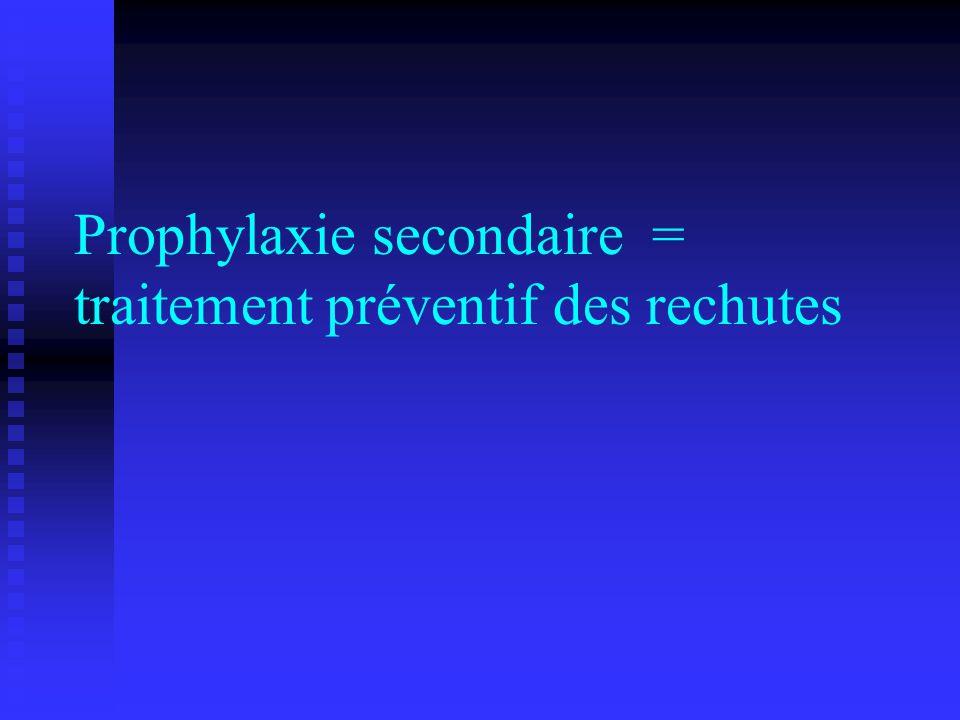 Prophylaxie secondaire = traitement préventif des rechutes