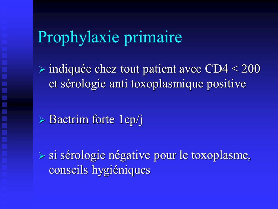 Prophylaxie primaire indiquée chez tout patient avec CD4 < 200 et sérologie anti toxoplasmique positive.
