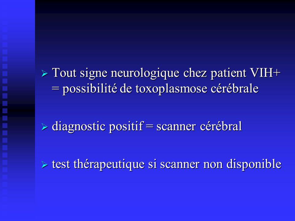 Tout signe neurologique chez patient VIH+ = possibilité de toxoplasmose cérébrale