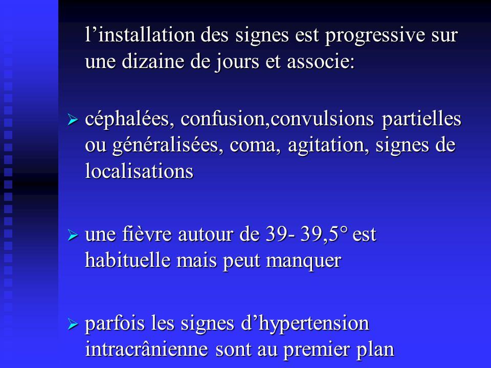 l'installation des signes est progressive sur une dizaine de jours et associe: