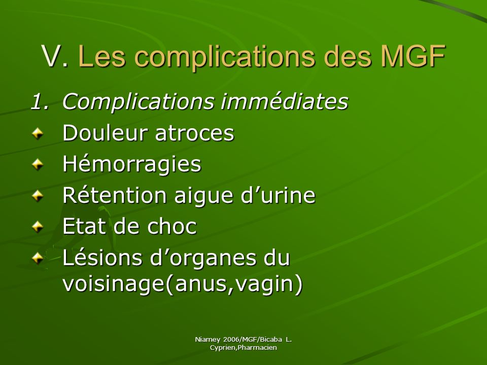 V. Les complications des MGF