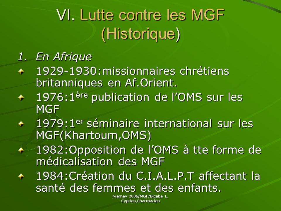 VI. Lutte contre les MGF (Historique)