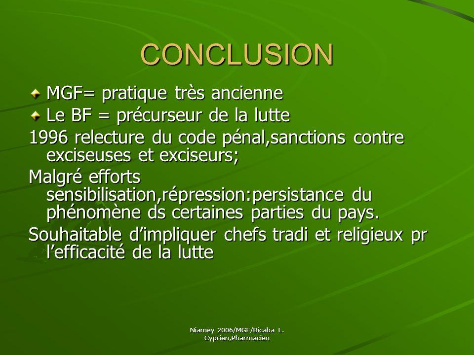 Niamey 2006/MGF/Bicaba L. Cyprien,Pharmacien