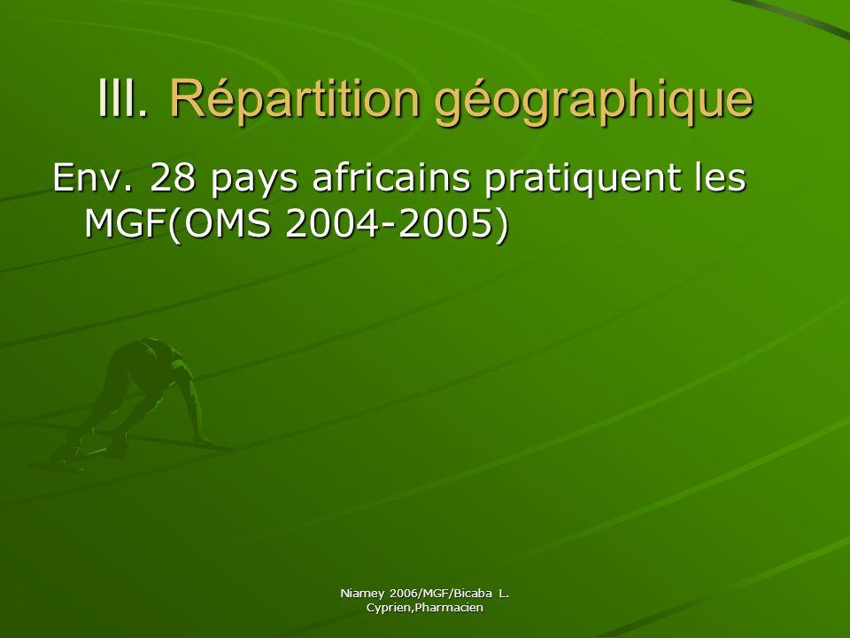 III. Répartition géographique