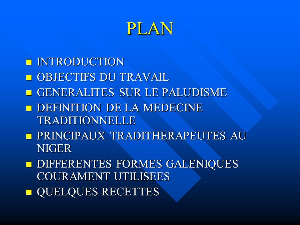 PLAN INTRODUCTION OBJECTIFS DU TRAVAIL GENERALITES SUR LE PALUDISME