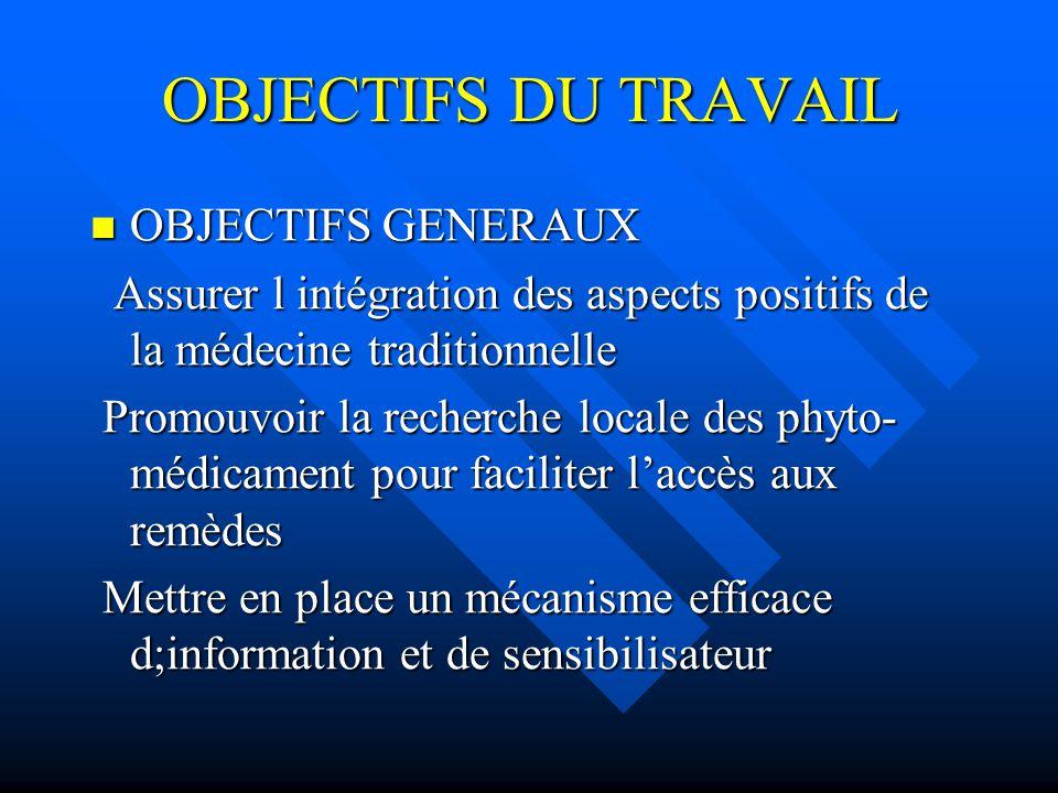 OBJECTIFS DU TRAVAIL OBJECTIFS GENERAUX