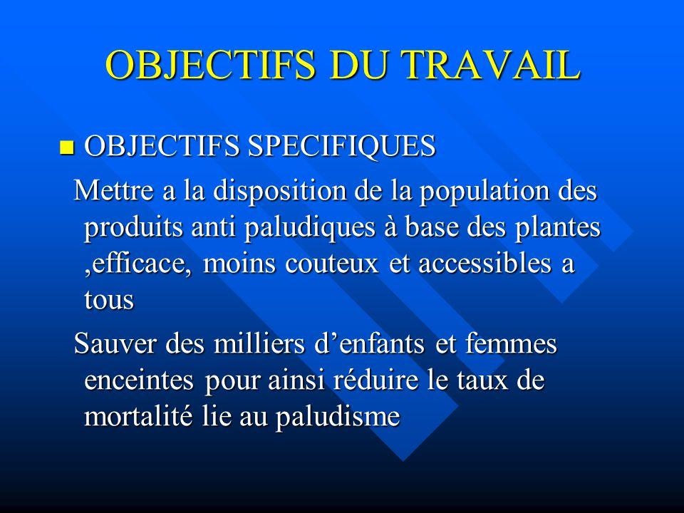 OBJECTIFS DU TRAVAIL OBJECTIFS SPECIFIQUES