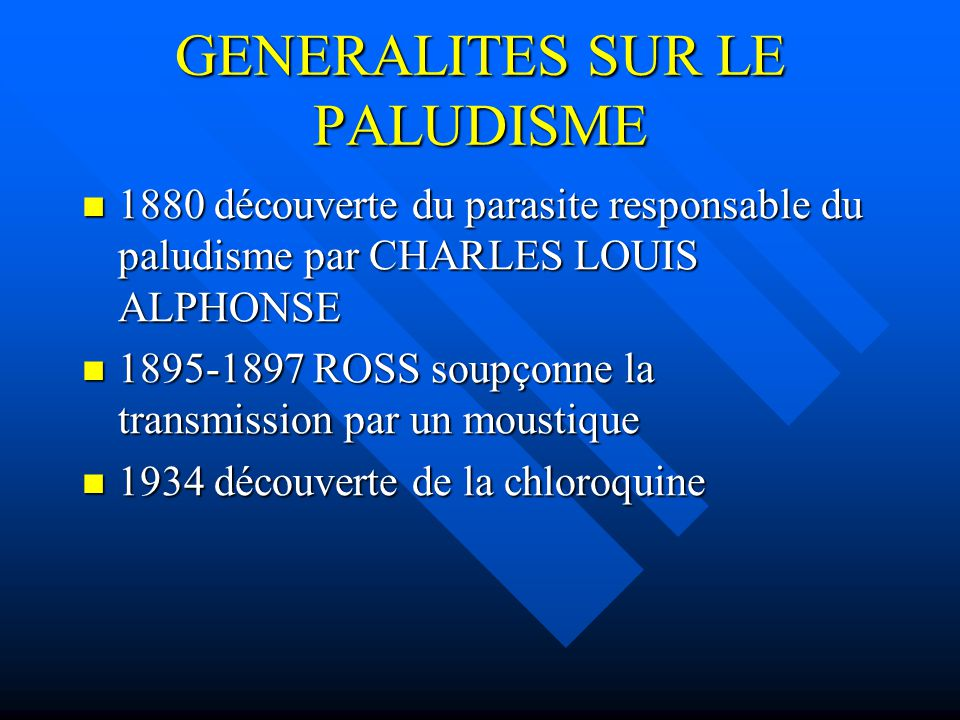 GENERALITES SUR LE PALUDISME