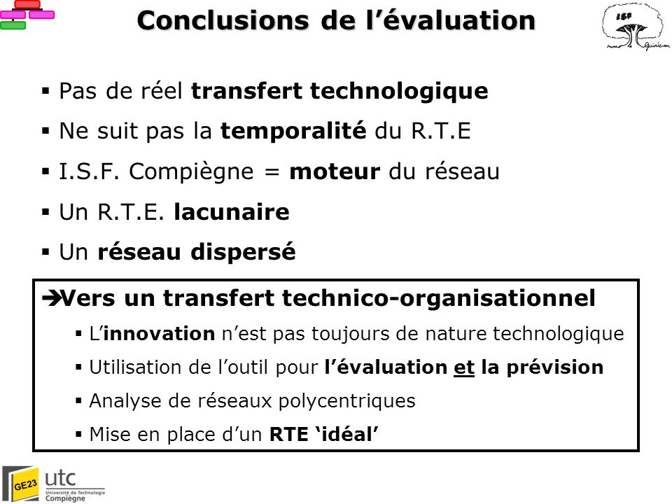 Conclusions de l'évaluation