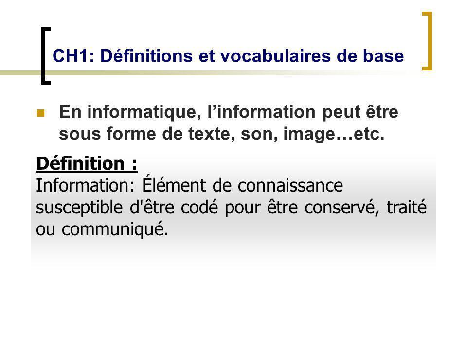 CH1: Définitions et vocabulaires de base