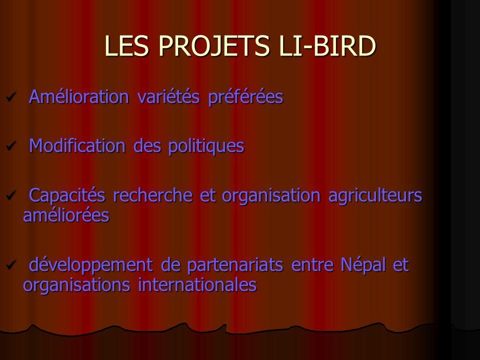 LES PROJETS LI-BIRD Amélioration variétés préférées
