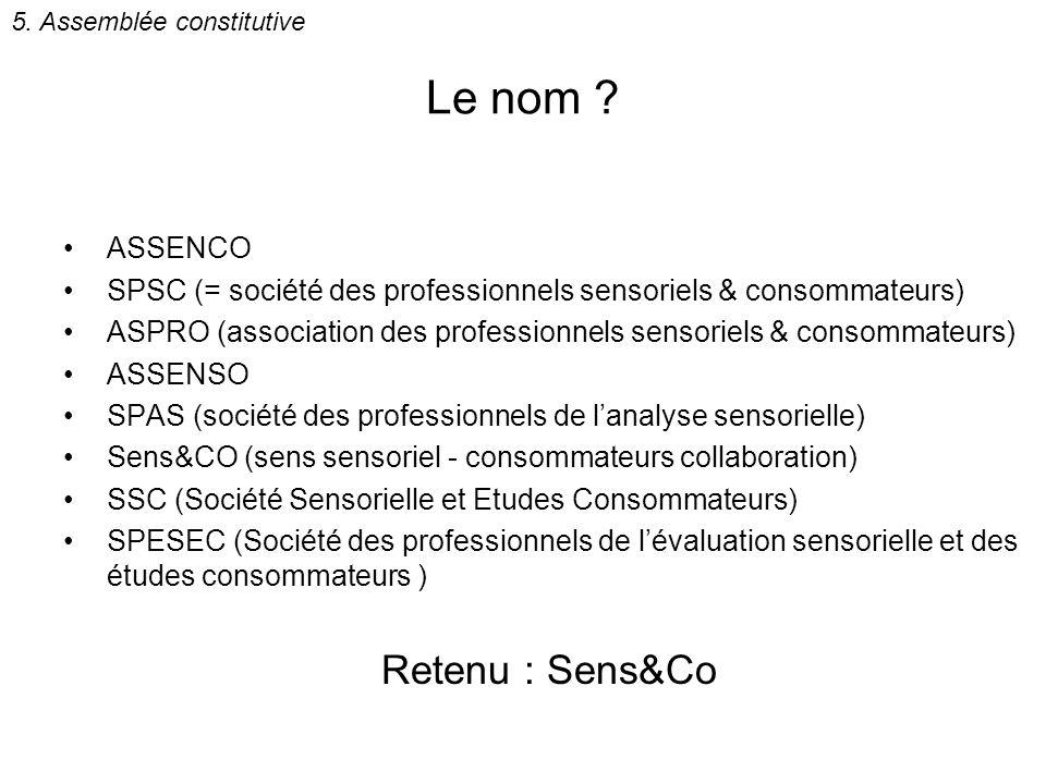 Le nom Retenu : Sens&Co ASSENCO