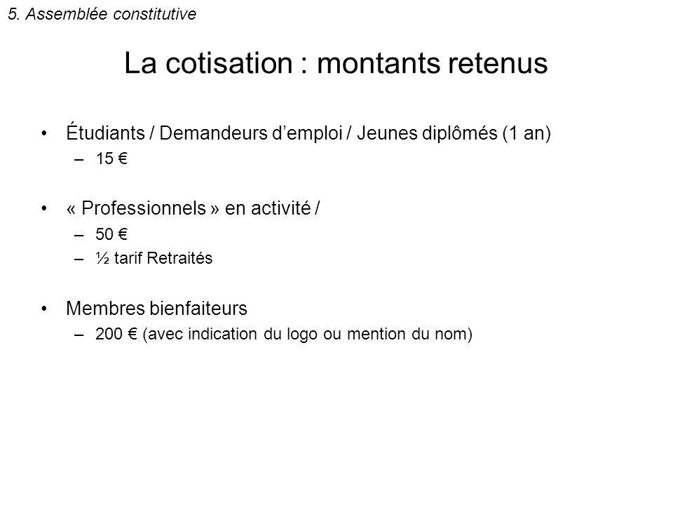 La cotisation : montants retenus