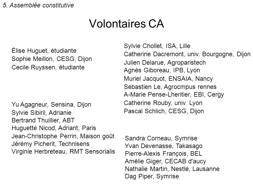 Volontaires CA 5. Assemblée constitutive Sylvie Chollet, ISA, Lille