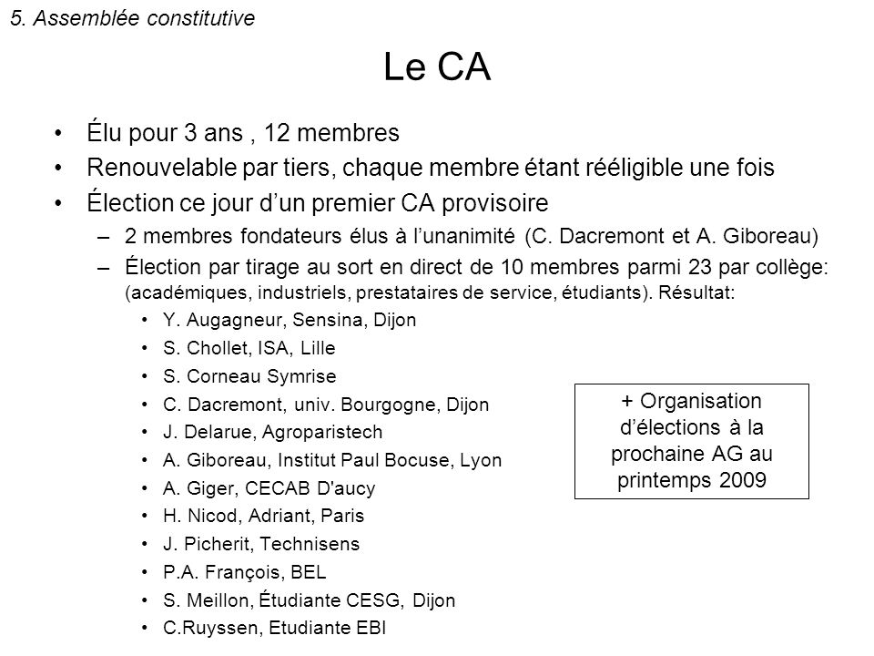 + Organisation d'élections à la prochaine AG au printemps 2009