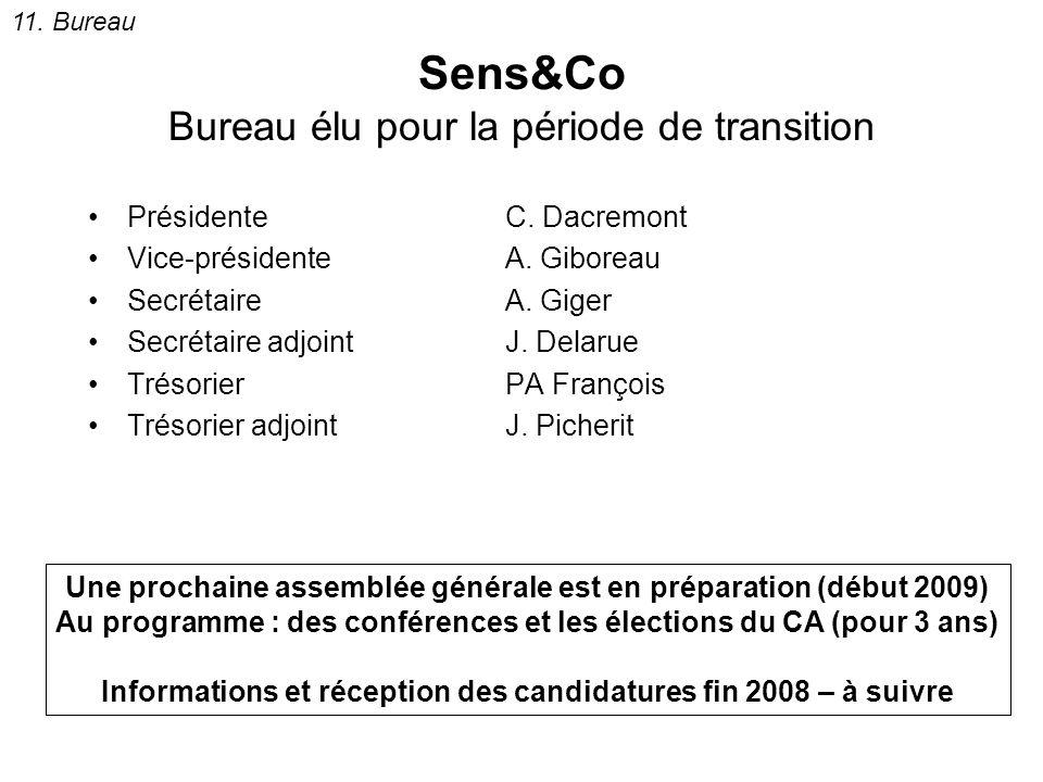 Sens&Co Bureau élu pour la période de transition