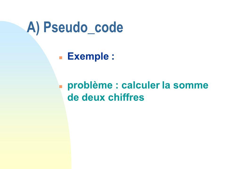 A) Pseudo_code Exemple : problème : calculer la somme de deux chiffres