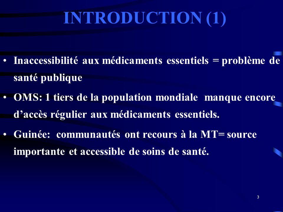 INTRODUCTION (1) Inaccessibilité aux médicaments essentiels = problème de santé publique.