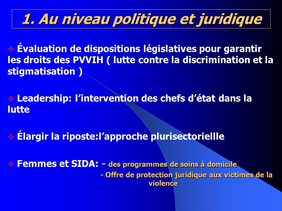 1. Au niveau politique et juridique