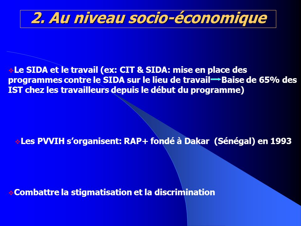 2. Au niveau socio-économique