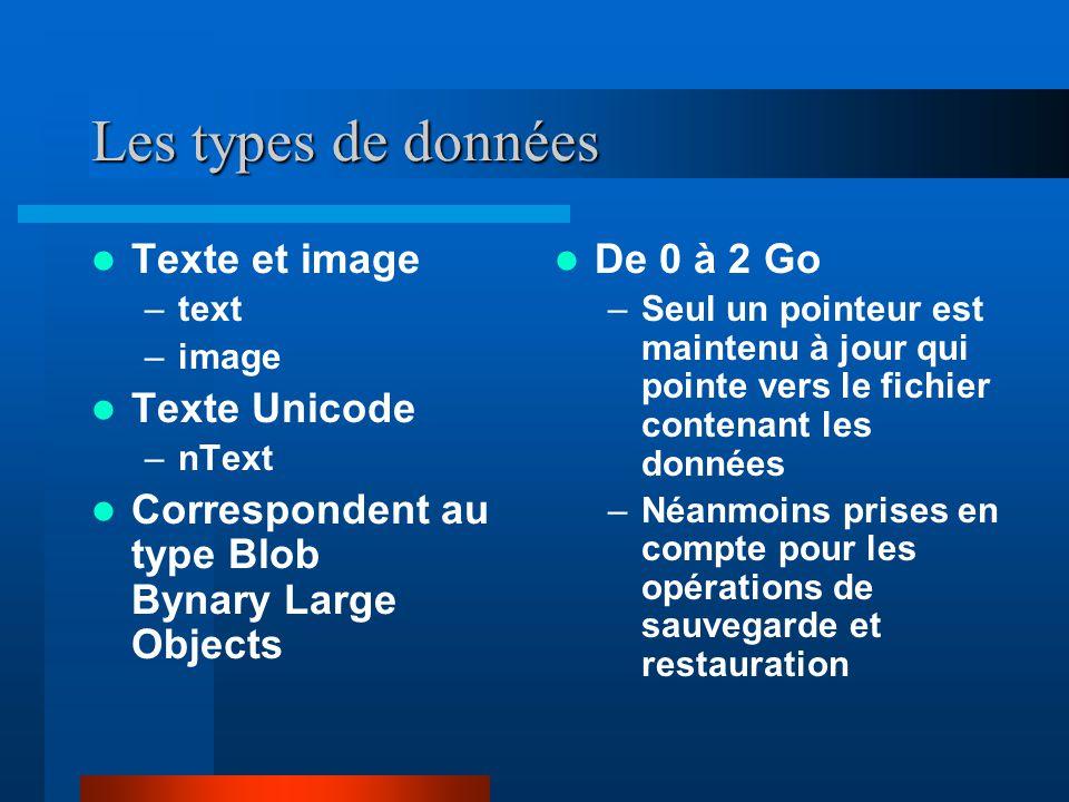 Les types de données Texte et image Texte Unicode