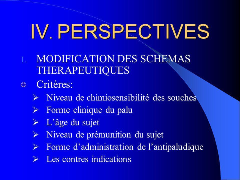IV. PERSPECTIVES MODIFICATION DES SCHEMAS THERAPEUTIQUES Critères: