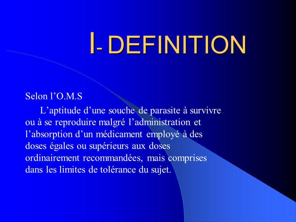 I- DEFINITION Selon l'O.M.S