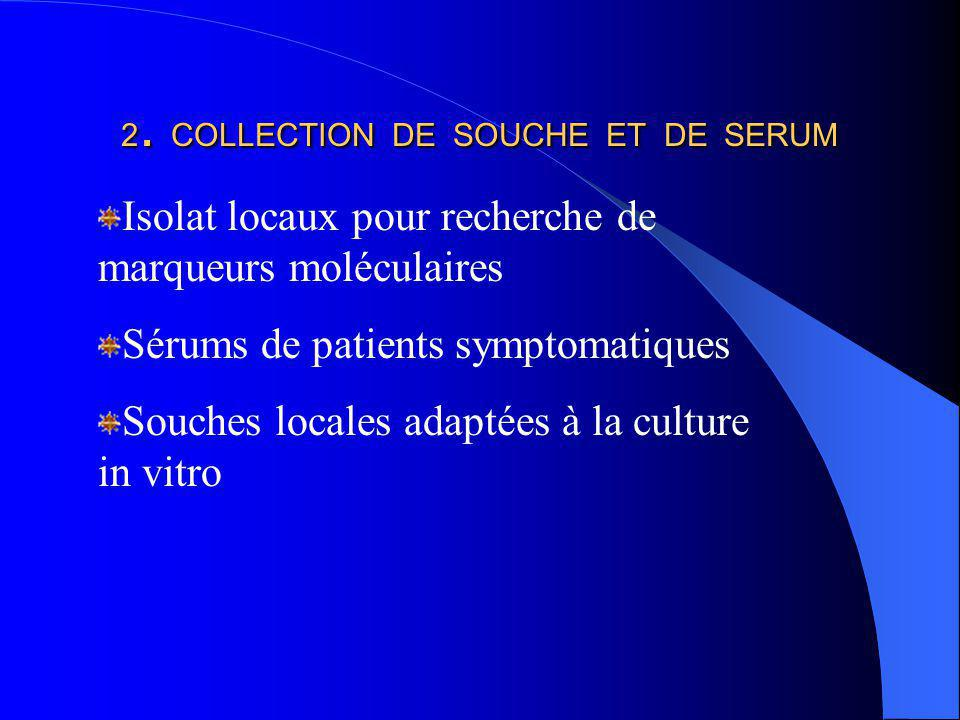 2. COLLECTION DE SOUCHE ET DE SERUM