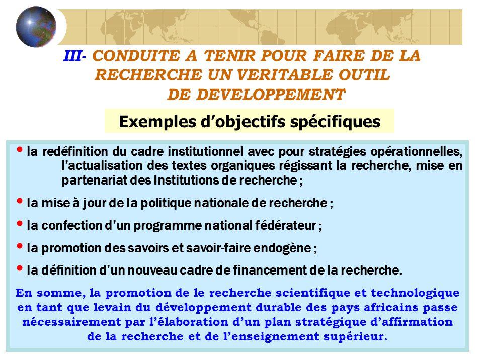 Exemples d'objectifs spécifiques