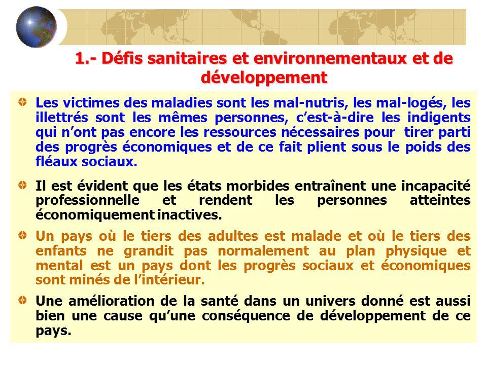 1.- Défis sanitaires et environnementaux et de développement