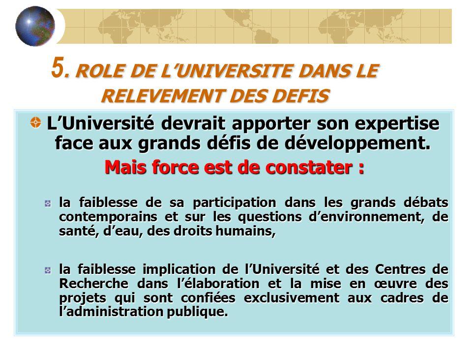 5. ROLE DE L'UNIVERSITE DANS LE RELEVEMENT DES DEFIS