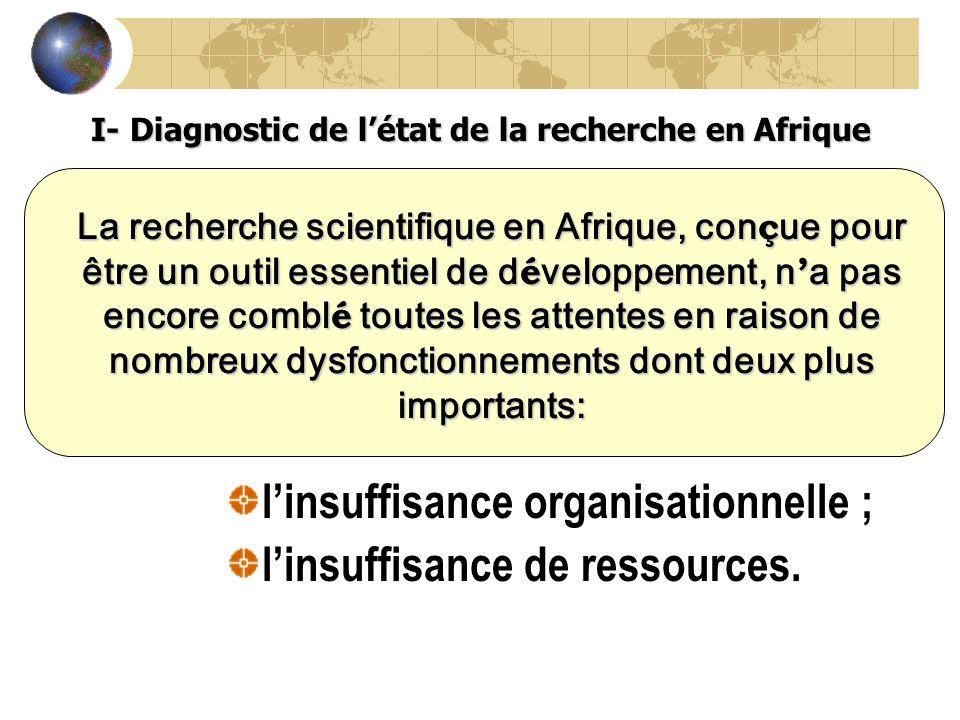 I- Diagnostic de l'état de la recherche en Afrique