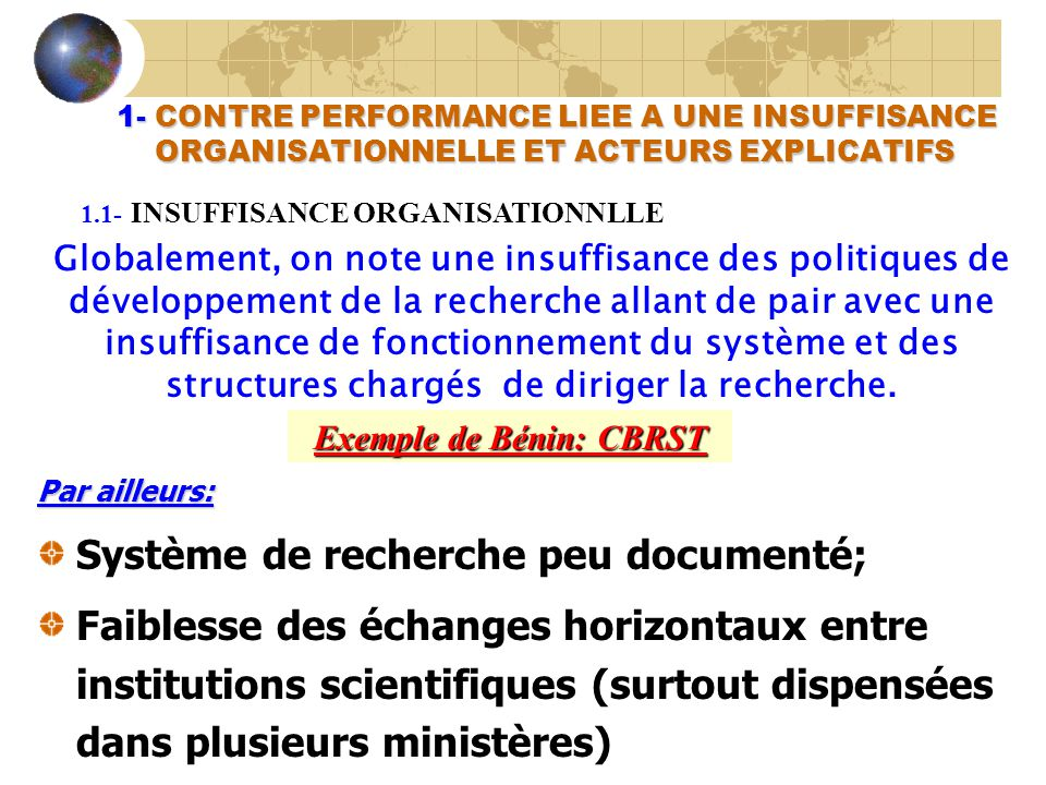 Exemple de Bénin: CBRST