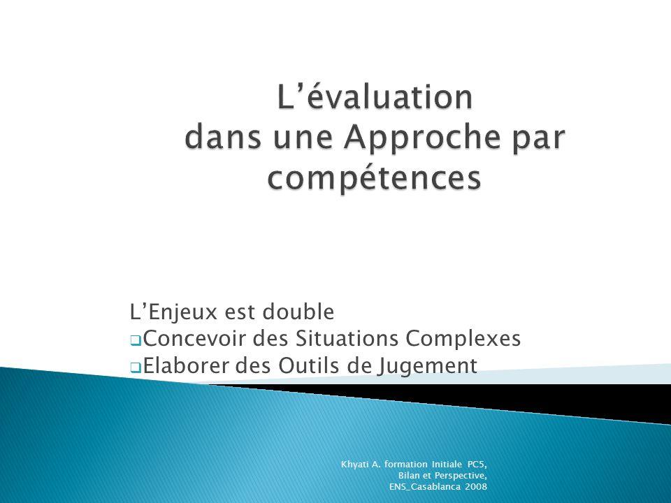 L'évaluation dans une Approche par compétences