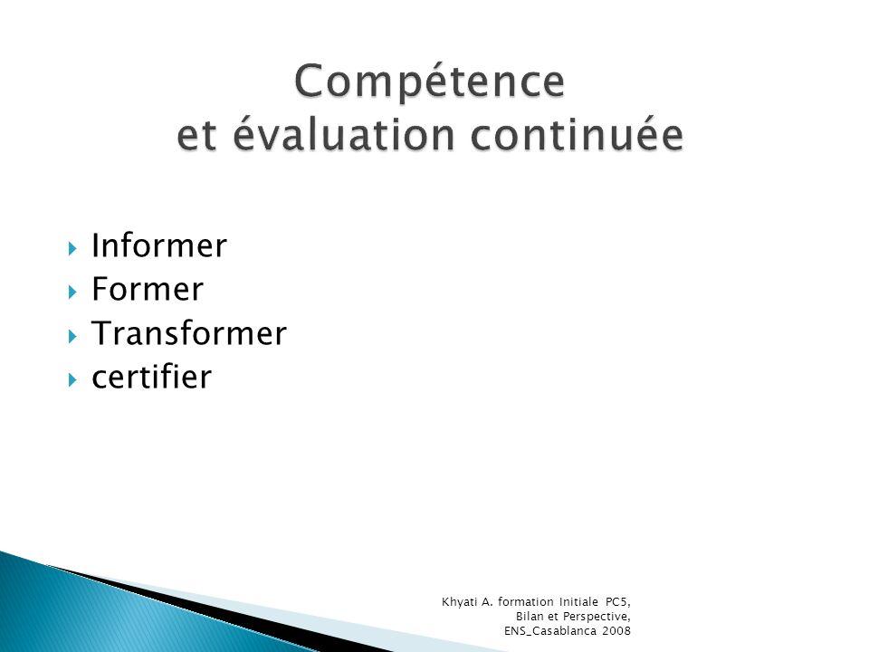 Compétence et évaluation continuée