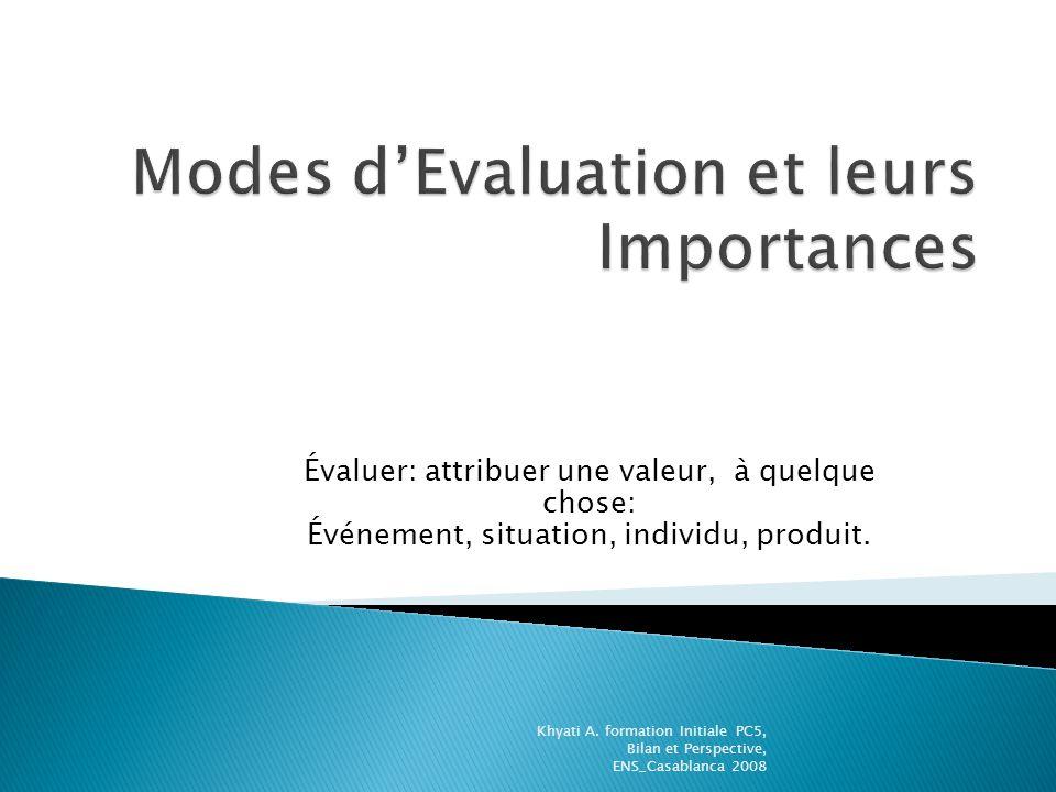 Modes d'Evaluation et leurs Importances