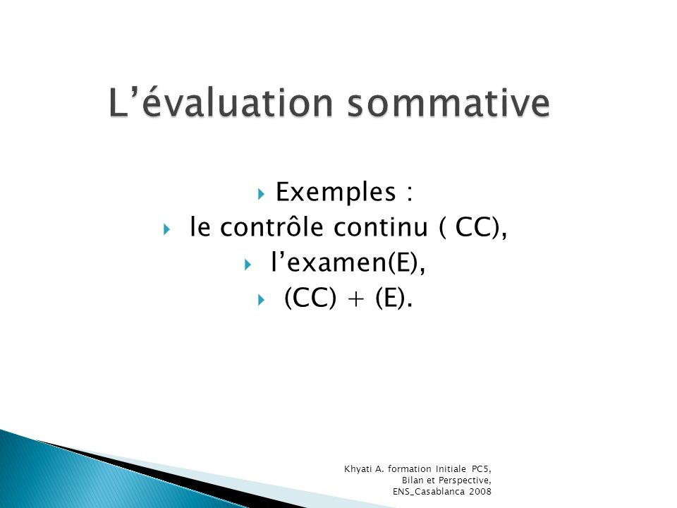 L'évaluation sommative