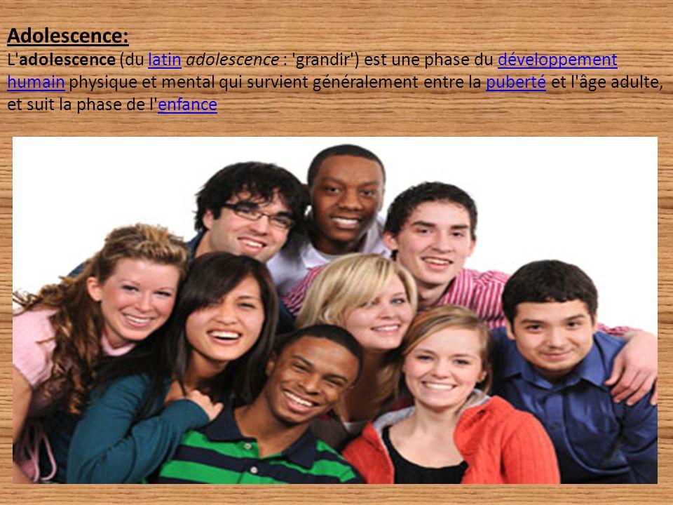 Adolescence: L adolescence (du latin adolescence : grandir ) est une phase du développement humain physique et mental qui survient généralement entre la puberté et l âge adulte, et suit la phase de l enfance