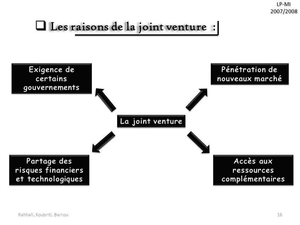 Les raisons de la joint venture :