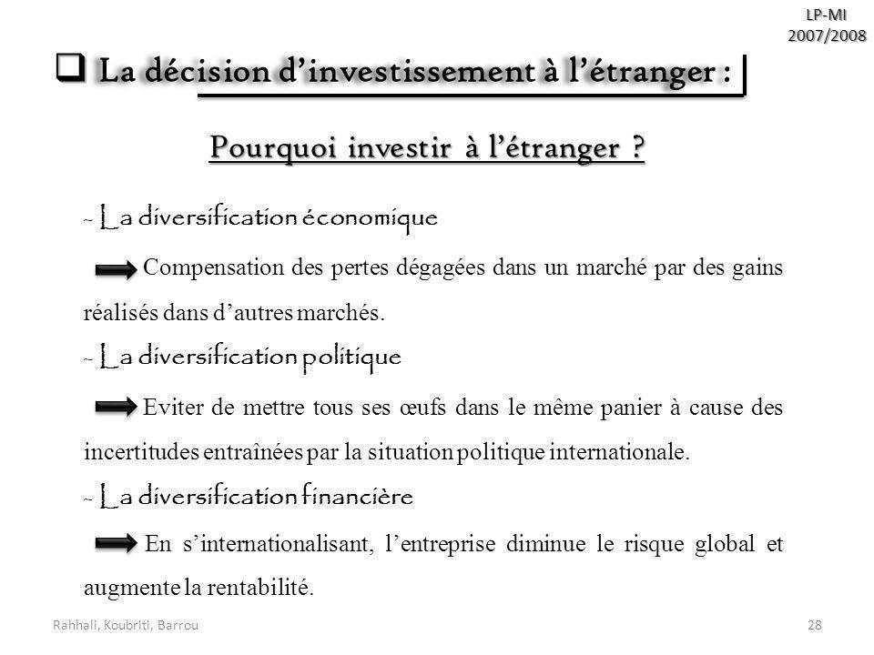 La décision d'investissement à l'étranger :