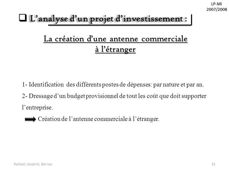 L'analyse d'un projet d'investissement :