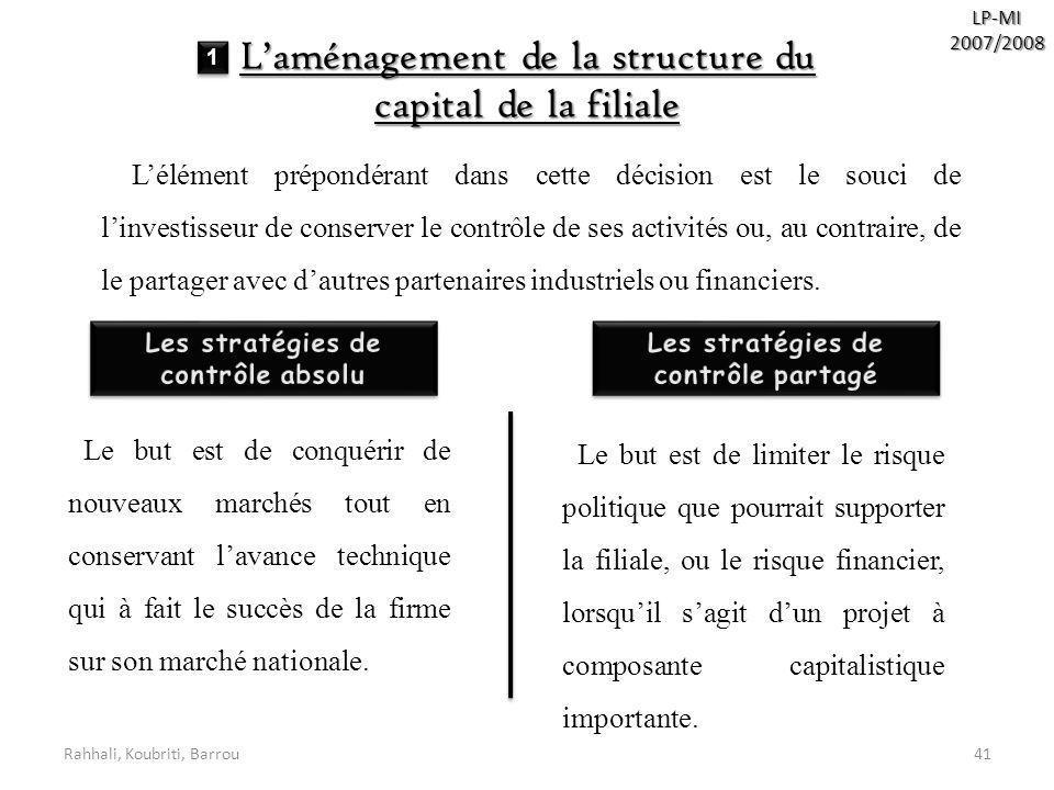 Les stratégies de contrôle absolu Les stratégies de contrôle partagé