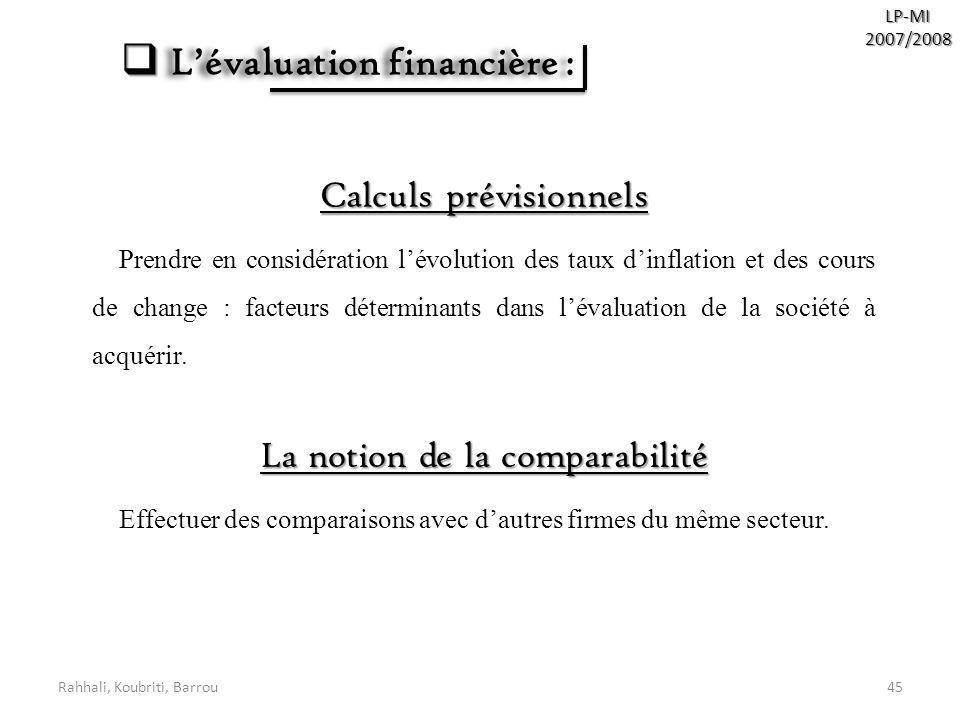 L'évaluation financière :