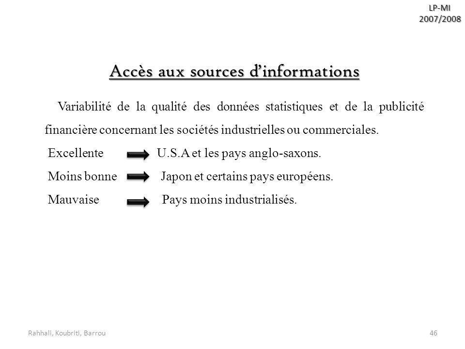 Accès aux sources d'informations