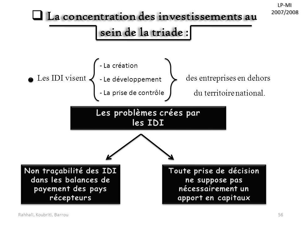 La concentration des investissements au sein de la triade :